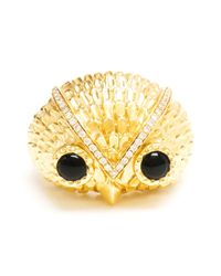 Yvonne Léon | Metallic Gold Onyx and Diamond Owl Ring | Lyst