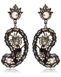Lanvin - Black Brown Paisley Glass Clipon Earrings - Lyst