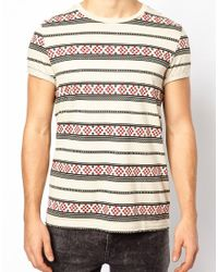 ASOS | White Stripe Tshirt with Aztec Pattern for Men | Lyst