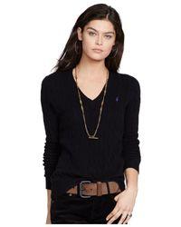 Polo Ralph Lauren | Black Julianna Cable Knit Cotton Jumper | Lyst