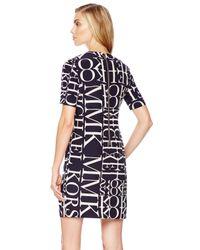 Michael Kors - Blue Michael Logoletter Knit Dress - Lyst