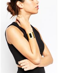 ASOS | Metallic Bar Stone Cuff Bracelet | Lyst