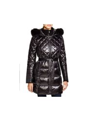 BCBGMAXAZRIA - White Quilted Coat With Fox Trim - Lyst