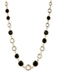 Anne Klein | Metallic Gold-tone Jet And Glass Stone Long Necklace | Lyst