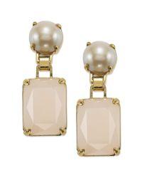 kate spade new york - White New York Goldtone Pink Stone Drop Earrings - Lyst