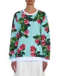 MSGM - Blue Rose-Print Cotton-Jersey Sweatshirt - Lyst