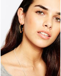 The 2 Bandits | Metallic Gold Plated Square Hoop Earrings | Lyst