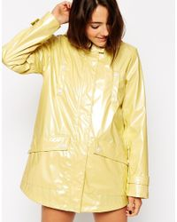 ASOS | Yellow High Shine Rain Mac | Lyst