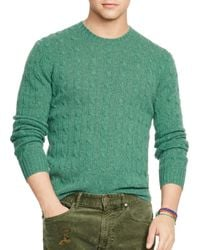 Pink Pony - Green Polo Cable-knit Cashmere Sweater - Lyst