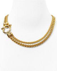 """Lauren by Ralph Lauren - Metallic Double Row Chain Necklace, 18"""" - Lyst"""