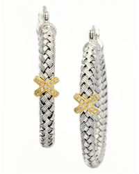 Effy | Metallic Balissima Sterling Silver, Diamond And 14k Yellow Gold Hoop Earrings | Lyst