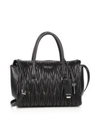 Miu Miu - Black Matelasse Leather Satchel - Lyst