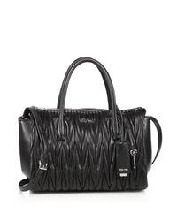 Miu Miu | Black Matelasse Leather Satchel | Lyst