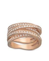 Swarovski | Pink Spiral Crystal And Rose Goldtone Ring Size 6 | Lyst