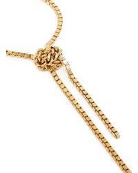 Ela Stone - Metallic 'patti' Knot Box Chain Drop Collar Necklace - Lyst