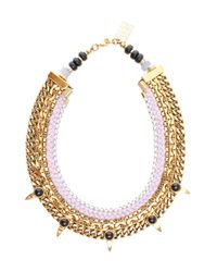 Lizzie Fortunato - Pink Chain Bib Necklace W Spike - Lyst