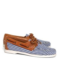 Brooks Brothers | Blue Gingham Boat Shoes for Men | Lyst