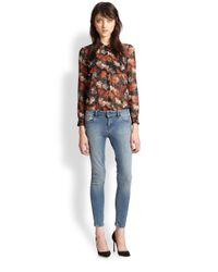 The Kooples - Orange Floralprint Sheer Chiffon Shirt - Lyst
