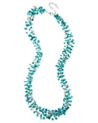 Kenneth Cole | Blue Silver-tone Semi-precious Turquoise Chip Bead Multi-row Necklace | Lyst