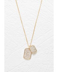 Forever 21 | Metallic Rhinestone Dog Tag Necklace | Lyst