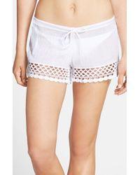 Becca White 'it Girl' Crochet Trim Crinkled Cotton Shorts