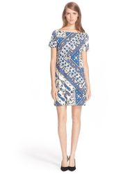 Tory Burch | Blue Print Short Sleeve Dress | Lyst
