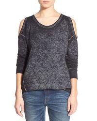 Stem Black Cold Shoulder Sweatshirt