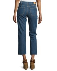 See By Chloé - Blue Embroidered Straight-leg Cropped Jeans - Lyst