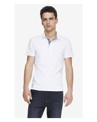 Express - White Chambray Placket Signature Polo for Men - Lyst