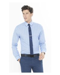 Express - Blue Fitted Micro Plaid Dress Shirt for Men - Lyst