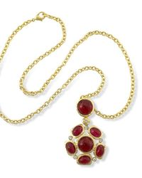 Kenneth Jay Lane | Red Satin Gold Ruby Cabochons Pendant Necklace | Lyst