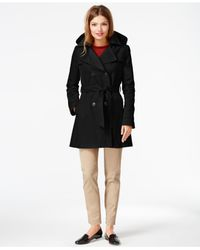 DKNY | Black Petite Double-breasted Hooded Trench Coat | Lyst
