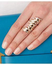 Kismet by Milka | Metallic Gold White Diamond Long Ring | Lyst