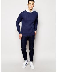 Hilfiger Denim | Blue Cable Jumper In Dark Navy for Men | Lyst