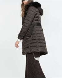 Zara | Gray Long Quilted Coat With Detachable Hood | Lyst
