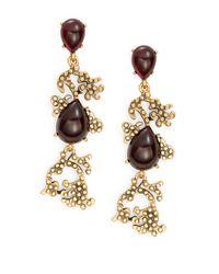 Oscar de la Renta   Purple Cabochon Filigree Drop Earrings   Lyst