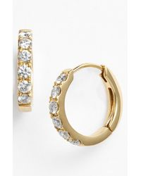 Bony Levy | Metallic Small Diamond Hoop Earrings | Lyst
