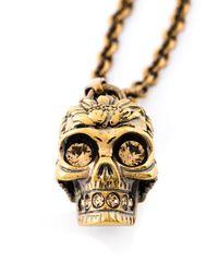 Alexander McQueen   Metallic Poppy Skull Necklace   Lyst