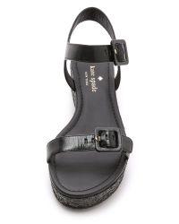 kate spade new york - Teigan Flatform Sandals - Black - Lyst