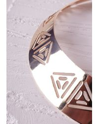 Missguided - Metallic Aztec Cut Out Collar Necklace Gold - Lyst