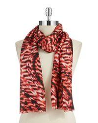 Calvin Klein | Pink Drybrush Silk Scarf | Lyst