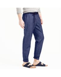 J.Crew - Blue Sideline Pant In Chambray for Men - Lyst