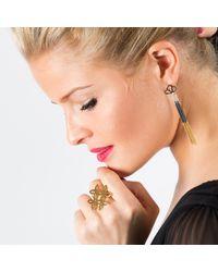 Anna Byers - Gray Geo Long Tassel Earrings - Lyst