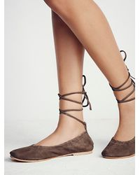 Free People | Brown Fp Collection Womens Washed Leather Ballet Fl | Lyst