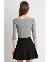 Forever 21 - Gray Boat Neck Crop Top - Lyst