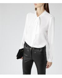 Reiss - White Julie Pussy Bow Blouse - Lyst