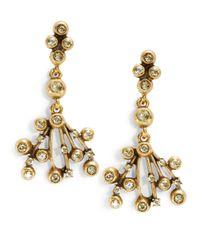 Oscar de la Renta   Metallic Rhinestone Chandelier Earrings   Lyst