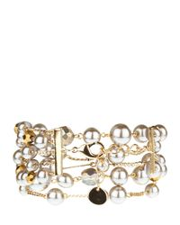 Jaeger - Brown Multi-row Pearl Chain Bracelet - Lyst