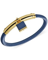 Michael Kors | Metallic Gold-Tone Leather Padlock Bangle Bracelet | Lyst