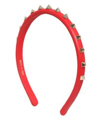 Valentino | Red Rockstud Leather Headband | Lyst